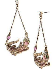 REPTILES ALLIGATOR DROP EARRINGS PINK accessories jewelry earrings fashion