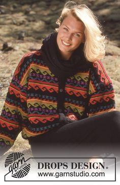DROPS jakke i Karisma med fargerike border. Gratis oppskrifter fra DROPS Design.