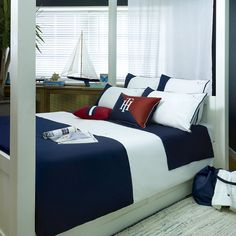 Discover the Tommy Hilfiger Navy Colour Block Duvet Cover - Single at Amara