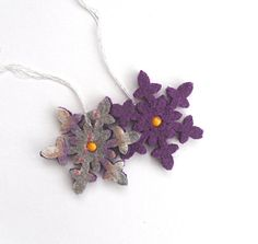 Purple Christmas snowflake ornament 100% wool by TheFeminineTouch