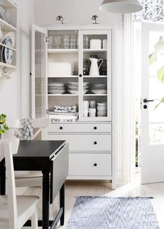HEMNES white stained glass-door cabinet with 3 drawers