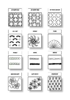 Zentangle Pattern Sheet 4 Patterns: 8´s Parte Dos, 8´s Parte Tres, 8´s Parte Quatro, In & Out, Fengle, Flora, Pearlz, Beedz, Beedle, Mak-Rah-Mee, Lazy Eights, Sugarcane