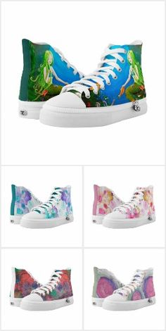 Colorful patterns and abstracts on high top sneakers. Unique and trendy designs for a bold fashion trends. Makes a great gift for the artistic person. Happy Shoes, Colorful Shoes, Personalized Products, Blue Design, Shades Of Blue, Converse Chuck Taylor, High Top Sneakers, Custom Design, Cool Outfits