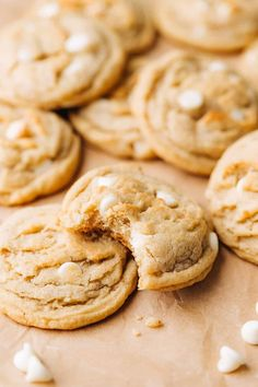 These are easily the BEST banana cookies! They're soft and chewy, and baked with brown butter for lots of flavor. Made with simple ingredients, no mixer is required for these Brown Butter Banana White Chocolate Chip Cookies.#bananarecipes #bananacookies #brownbuttercookies #whitechocolatechipcookies #chewycookierecipe #bakedambrosia Brown Butter Cookies, White Chocolate Chip Cookies, Salted Caramel Cookies, Roll Cookies, Yummy Cookies, Yummy Treats, Favorite Cookie Recipe, Best Cookie Recipes, Easy Desserts