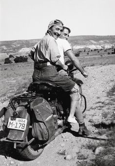 "love this photo...    ""Georgia O'Keeffe hitching a ride to Abiquiu, Ghost Ranch, 1944″ AKA ""Women Who Rode Away."" –Image by Maria Chabot @Georgia O'Keeffe Museum. The painter, Maurice Grosser, visited his friend O'Keeffe's ranch in 1944. Maria Chabot photographed O'Keeffe and Grosser on his 1938 Harley-Davidson Knucklehead. It's an amazing image that celebrates denim, machine, and the joy of the open road. That look on O'Keeffe's face says it all."