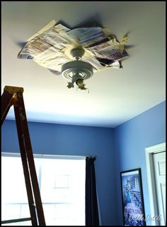 Paint old ceiling fan.  Just told the Hub I was going to do this and he was doubtful. Here are some great tips.  Goodbye brass!