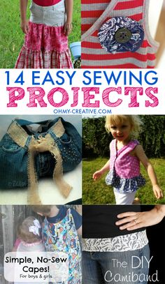 14 Easy Sewing Projects - Tutorial to make purses, kids clothes and repurposed fashions!