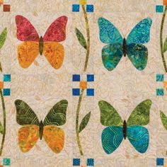 The GO Butterfly Patch quilt pattern by fabric artist Edyta Sitar brings a whole kaleidoscope of graceful winged creatures to the foreground of your next project Precut Cute Quilts, Small Quilts, Mini Quilts, Butterfly Quilt Pattern, Applique Quilt Patterns, Applique Templates, Applique Designs, Embroidery Designs, Patch Quilt