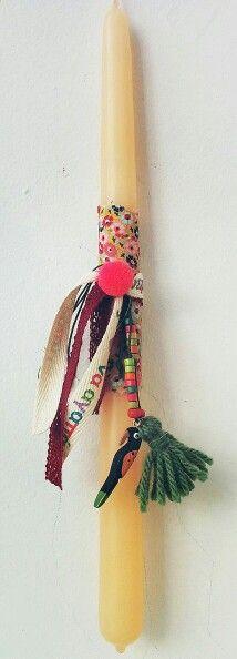 Handmade easter candle. Χειροποίητη λαμπάδα.  El sueño de Panorea.