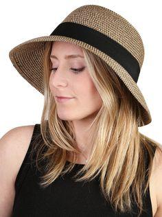Amazon.com: H-6115-07 Black Ribbon Adjustable Sun Hat - Brown Multi: Clothing