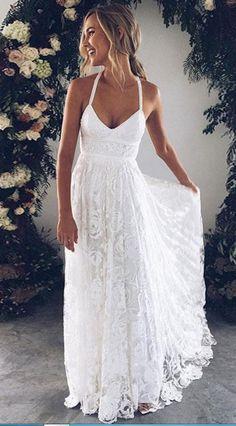 White v neck lace long prom dress, white
