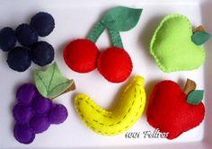 Mais frutas feitas em feltro! Foram feitas para enfeitar a mesa e para que as crianças da casa possam brincar e aprender. Essa foi a idéia...