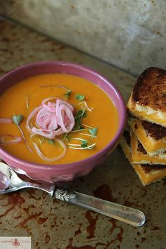Sweet Potato, Carrot and Cheddar Soup with Pickled Shallots