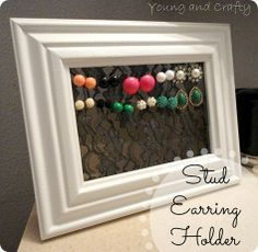 Earring holder for studs...could use tulle too I'm sure. This would be a cute gift for someone....could paint their name on the frame.