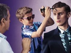 Romeo Beckham styling Splash Sunglasses behind the scenes of the Burberry Spring/Summer 2013 campaign