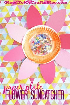 Paper Plate Flower Suncatcher - Kid Craft Idea