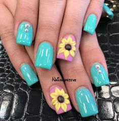 summer french nails Blue Tips Cute Summer Nail Designs, Cute Summer Nails, Diy Nail Designs, Cute Nails, Pretty Nails, Summer Design, French Nails, Diy Nails, Manicure