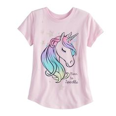 "Girls Jumping Beans® ""Born To Sparkle"" Unicorn Tee Kids Dress Wear, Baby Dress, Cute Shirts, Kids Shirts, Unicorn Graphic, Unicorn Fashion, Justice Clothing, Girls Fleece, Unicorn Shirt"