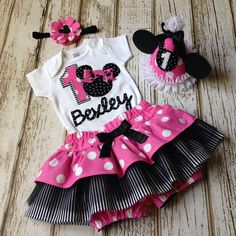 Minnie Mouse Pink and Black Personalized Name Onesie or Tshirt with Skirt or Diaper Cover - First Birthday, Cake Smash, Photography Prop by Polkadotologie on Etsy