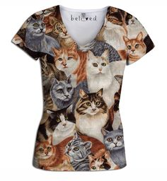 Cats Women's V-Neck Tee   Beloved Shirts