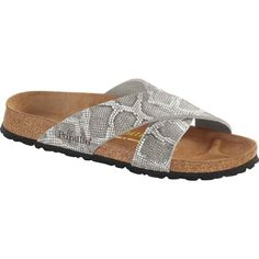 Birkenstock Women's Papillio Daytona Royal Python Gray Leather Slide... ($120) ❤ liked on Polyvore featuring shoes, sandals, grey, leather shoes, metallic sandals, leather sandals, cork footbed sandals and slide sandals