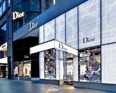 Estelle dior store, retail facade, shop facade, store design, store front d Shop Interior Design, Retail Design, Store Design, Shop Window Displays, Store Displays, Facade Design, Exterior Design, Surabaya, Dior Store
