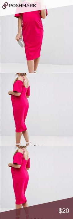 ASOS Maternity Dress This dress is AMAZING! I wore it once for my baby shower. It is a true hot pink with sassy details on the top! You will definitely be the center of attention! :) ASOS Dresses Midi