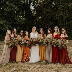 Color palette: taupe, mustard, burnt orange and burgundy! These ladies nailed it! Mustard Wedding Colors, Burgundy Wedding Colors, Taupe Wedding, Maroon Wedding, Fall Wedding, Dream Wedding, Burnt Orange Bridesmaid Dresses, Country Bridesmaid Dresses, Bridesmaid Dress Colors