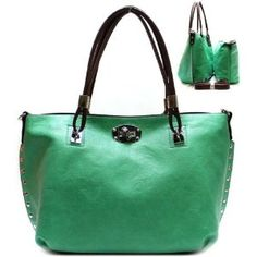 Valentino Style Metal Studs Lock Closure Purse and Bag / Handbag / Bag in Bag / Green / Rchja2511mnt