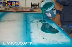 Beautiful blue epoxy during pouring process!