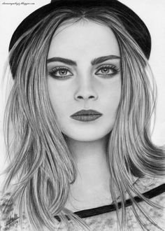 ▷ 1001 + images for girl drawing - ideas for developing your creativity black and white sketch, inspired by cara delevingne, long hair, black hat, girl drawing easy Pencil Art Drawings, Realistic Drawings, Easy Drawings, Drawing Sketches, Drawing Ideas, Cara Delevingne Drawing, Girl Tumbler, Girl Drawing Easy, Black And White Sketches