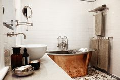 Bathroom renovation in Carlton North featuring freestanding copper tub Carlton North, Copper Bath, Nest Building, Wall Hung Toilet, Cottage Plan, Very Well, Interiors, Dream Houses, Melbourne