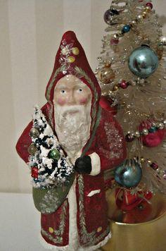 Santa Claus Belsnickel papier mache figurine folk by Joannabolton, $45.00
