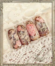 Nail design with Moyra Stamping plate No. 12 Faces and No. Rose Nail Art, Rose Nails, Flower Nails, Fabulous Nails, Gorgeous Nails, Pretty Nails, Vintage Nail Art, Nail Art Designs, Sculpted Gel Nails