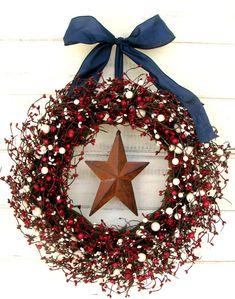 RED WHITE & BLUE Door Wreath-Summer Door Decor-Patriotic Wreath-Holiday Wreath-Scented Cinnamon Sticks-Custom Choose Scent and Ribbon