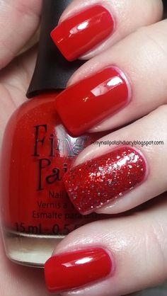 Finger Paints Curator's Crimson with China Glaze Love Marilyn accent nail