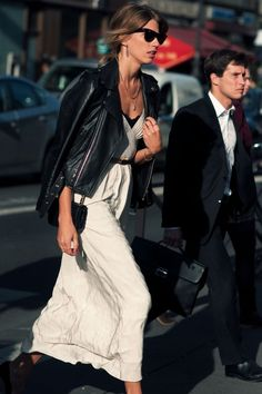 Leather moto jacket and white maxi dress. Perfect way to style a summer-y white dress for fall.