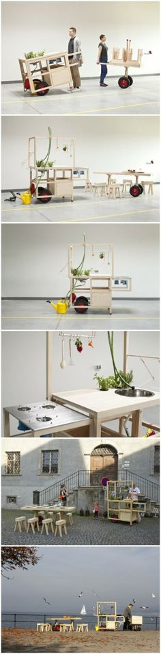 Mobile kitchen and table