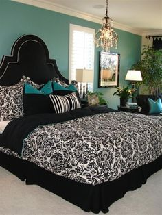 My bedroom colours only reversed my bedspread is turquoise and walls black with demask curtains and pillows :)