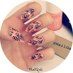 Funky Random doodles stiletto nails set  hand by NailGalsBoutique