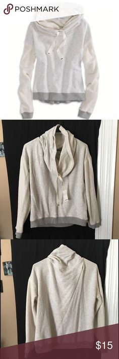 Cowl Neck Sweetshirt Comfortable cowl neck sweatshirt. 2 different tones between sleeves and body. Tie string around neck. Worn a handful of times. Sized as an XL, but runs slightly smaller. American Eagle Outfitters Sweaters