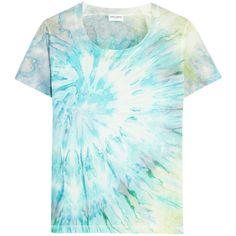 Saint Laurent Tie-dyed cotton-jersey T-shirt ($395) ❤ liked on Polyvore featuring tops, t-shirts, blue, tye dye t shirts, tiedye t shirts, cotton jersey, blue tee y tie dyed tops