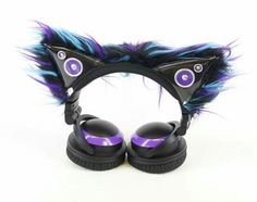 Pawstar accent sleeves only kitty mew ear covers for cat ear headphones you pick color scheme axent Pink Headphones, Sports Headphones, Computer Accessories, Tech Accessories, Kawaii Accessories, Purple And Black, Pink Purple, Black White, Tablet