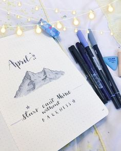 Bullet journal monthly cover page, April cover page, mountain drawing. | @cloud.palette