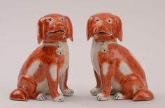 A PAIR OF CHINESE EXPORT SEATED PUPS | Chinese Porcelain Company