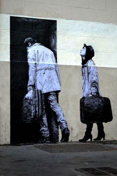 """""""Le départ"""" OU """" Entre dans le monde qui est derrière le mur..."""" / Street Art. / By Levalet."""