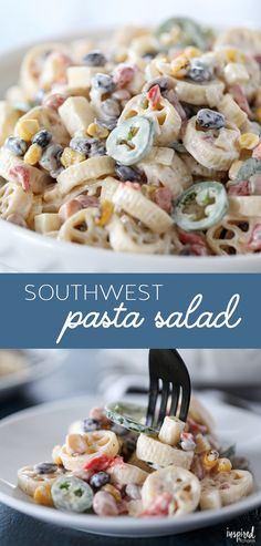 Hypoallergenic Pet Dog Food Items Diet Program This Southwest Pasta Salad May Become Your New Go-To Summer Side Dish. Via Inspiredbycharm Chicken Salad Recipes, Pasta Recipes, Appetizer Recipes, Cooking Recipes, Appetizers, Spinach Recipes, Cooking Tips, Southwest Salad, Southwest Recipe