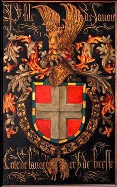 Golden Fleece Order stallplate of 70. Philippe de Savoie, Comte de Bresse (1443-1497), Kathedraal Sint-Salvator Brugge, by Pierre Coustain, 1478.