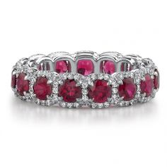 Eternity ring that stands out! Rubies and diamonds are gorgeous together :) Especially if they were blood red :) Why the 4 prongs though?? No prongs rules http://www.firenzejewels.com/images/products/p_5150_m_1.jpg