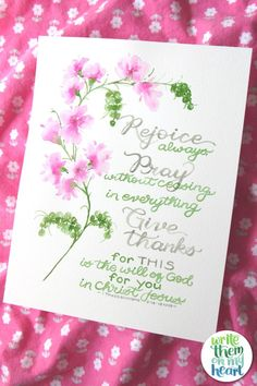 Just in case you were wondering ... The will of God = rejoice always, pray without ceasing, and give thanks. And do all that IN Christ Jesus. Watercolor Lettering, Hand Lettering, Bible Notes, Bible Verses, 1 Thessalonians 5 16, Computer Font, Rejoice Always, Verses For Cards, Scripture Wall Art